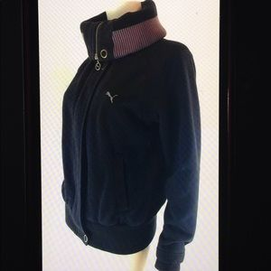 Puma Jackets & Coats - Puma Convertible Collar Logo Sweatshirt Jacket
